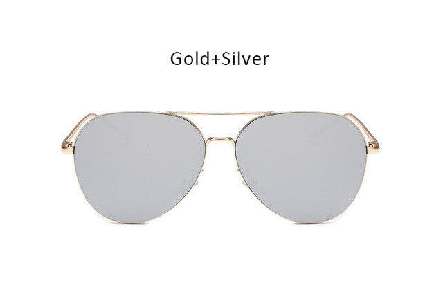 Women Rose Gold Oversized Mirror Aviation Sunglasses Men Brand Designer Vintage Retro Sun Glasses