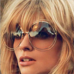 TSHING Vintage Oversized Round Sunglasses Women Fashion Large Size Metal Circle Mirror Sun Glasses For Female UV400
