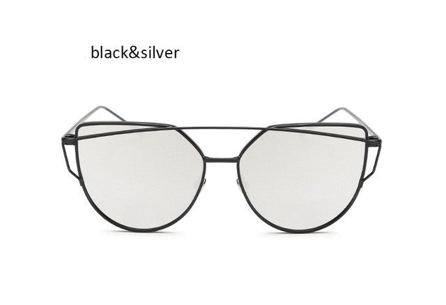 Fashion New Women Clear Lens Cat Eye Sunglasses Ladies Mirror Cateye Sun Glasses For Female