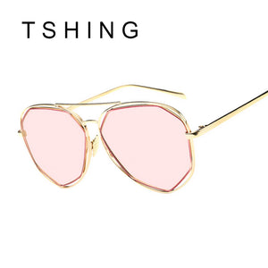 TSHING New Women Aviation Sunglasses Fashion Brand Designer Twin-Beam Mirror Shades Pilot Sunglasses UV400