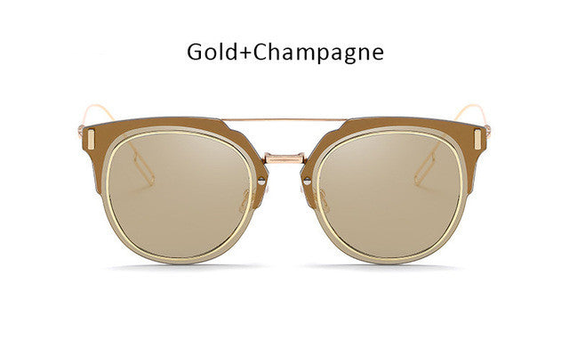 Famous Brand Designer Flat Lens Sunglasses Women Men Celebrity Superstar Plane Mirror Sun Glasses