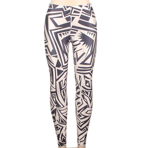 Printed Women Sporting Full Length Seamless High Waist Elastic Leggings