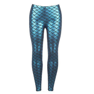 Women's Blue Imitation Fish Scales Sporting Leggings