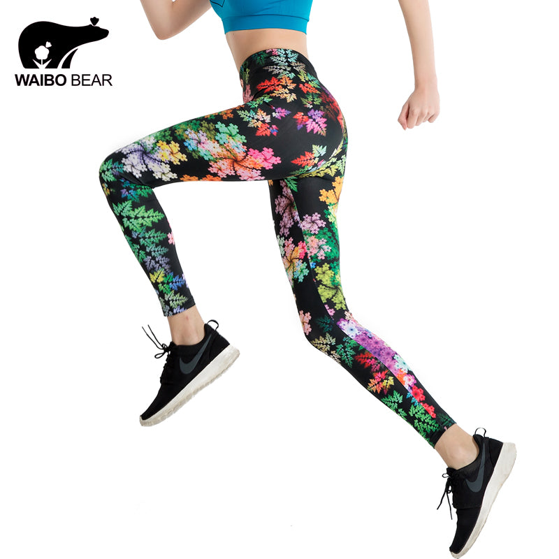 Women Floral Print Workout Patchwork Leggings Sexy Contrast Color Splicing High Elastic Fitness Leggins Pencil Pants WAIBO BEAR