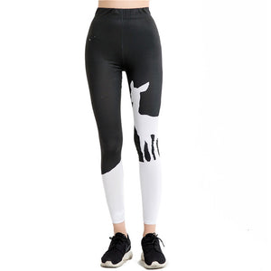Women 2017 Red Lips Print Casual Black Leggings Splicing Skinny Legin Workout Ankle Length Thin Yogaes Trousers WAIBO BEAR