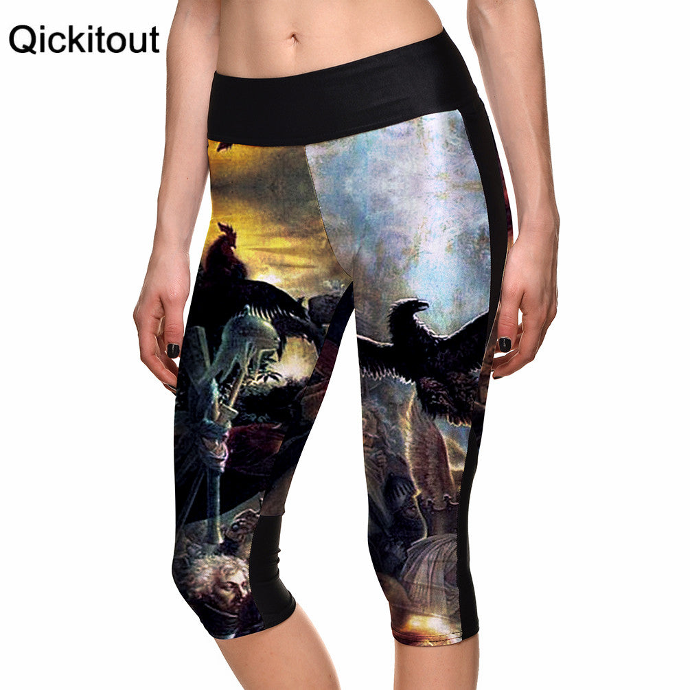 New SEXY Hot Women's 7 point pants women legging Evil demon devil house digital print women high waist Side pocket phone pant