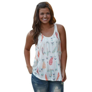 Tank Tops Arrow Printing Women Sleeveless Shirt Blouses Casual O Neck Tank Tops T-Shirt White Vest Top