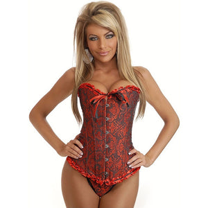 Ladies Women's Sexy Lace up Back Satin Boned Corset Bustier G-string Size S-6XL