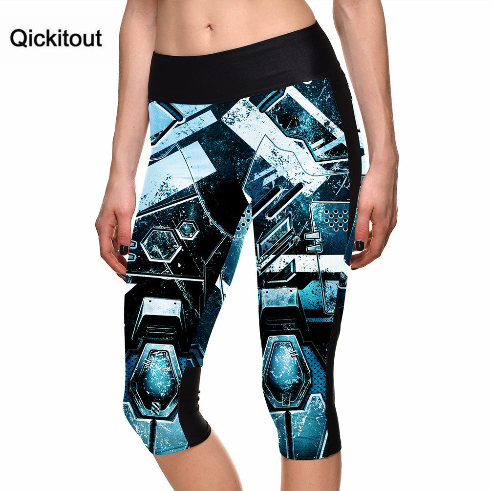 Hot women's 7 point pants ladies Sexy leggings Biochemical machinery digital print women high waist Side pocket phone pants