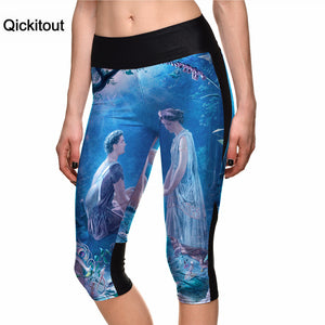 Qickitout 2016 New Fashion Leggings cartoon Digital Print 7 Point Pants high waist Side pocket  phone pant Drop shipping