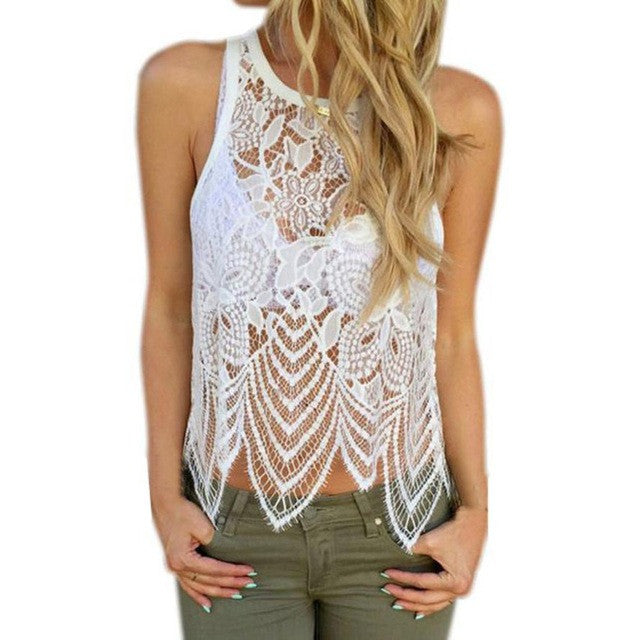 Women Blouses Womens Floral Lace Crochet Tank Top Women's Fashion Loose Casual Sleeveless Big Size Blouse
