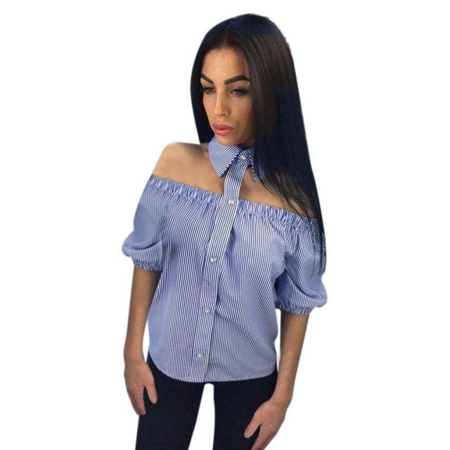 Halter Blouse Women 2017 Summer Off Shoulder Striped Printed Casual Street Style Shirt Blouse Tops Shirt blusa feminina