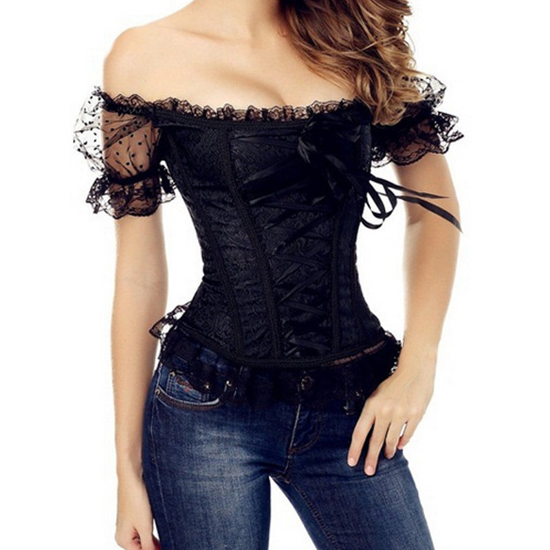 Sexy Women Lace Up Off Shoulder Corset Overbust Bustier Strapless Tops Slim Waist Trainer Body Shaper H9