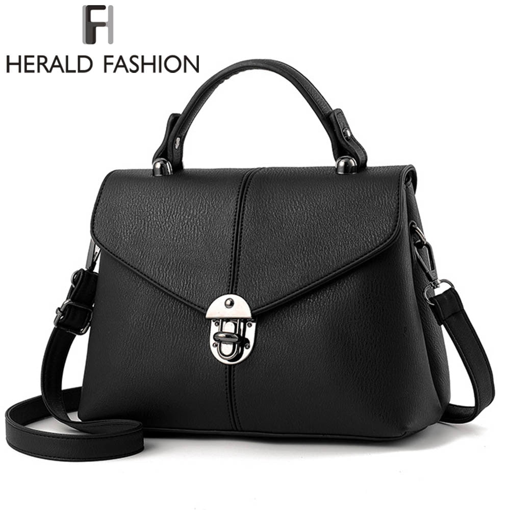 Herald Fashion Brief Women Handbag Solid Flap Shoulder Bag Top-Handle Tote Bags 2017 New Arrival Ladies Messenger Bag