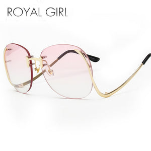 ROYAL GIRL 2017 new Sunglasses Women Retro Designer Rimless Frame Gradient Lens Bent legs Glasses UV 400 lens #ss119