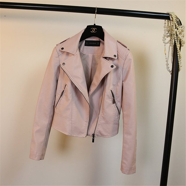 Women's Short Motorcycle Biker Jacket Coat