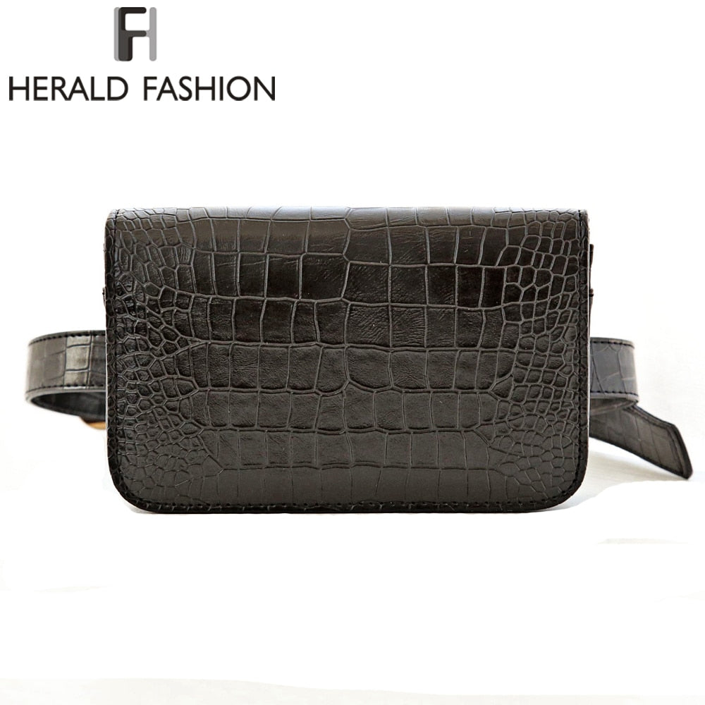 Herald Fashion Women Waist Belt Bag Crocodile PU Leather Belt Pack Waist Bag Small Women Bag Travel Bag Waist Pack Bolsas