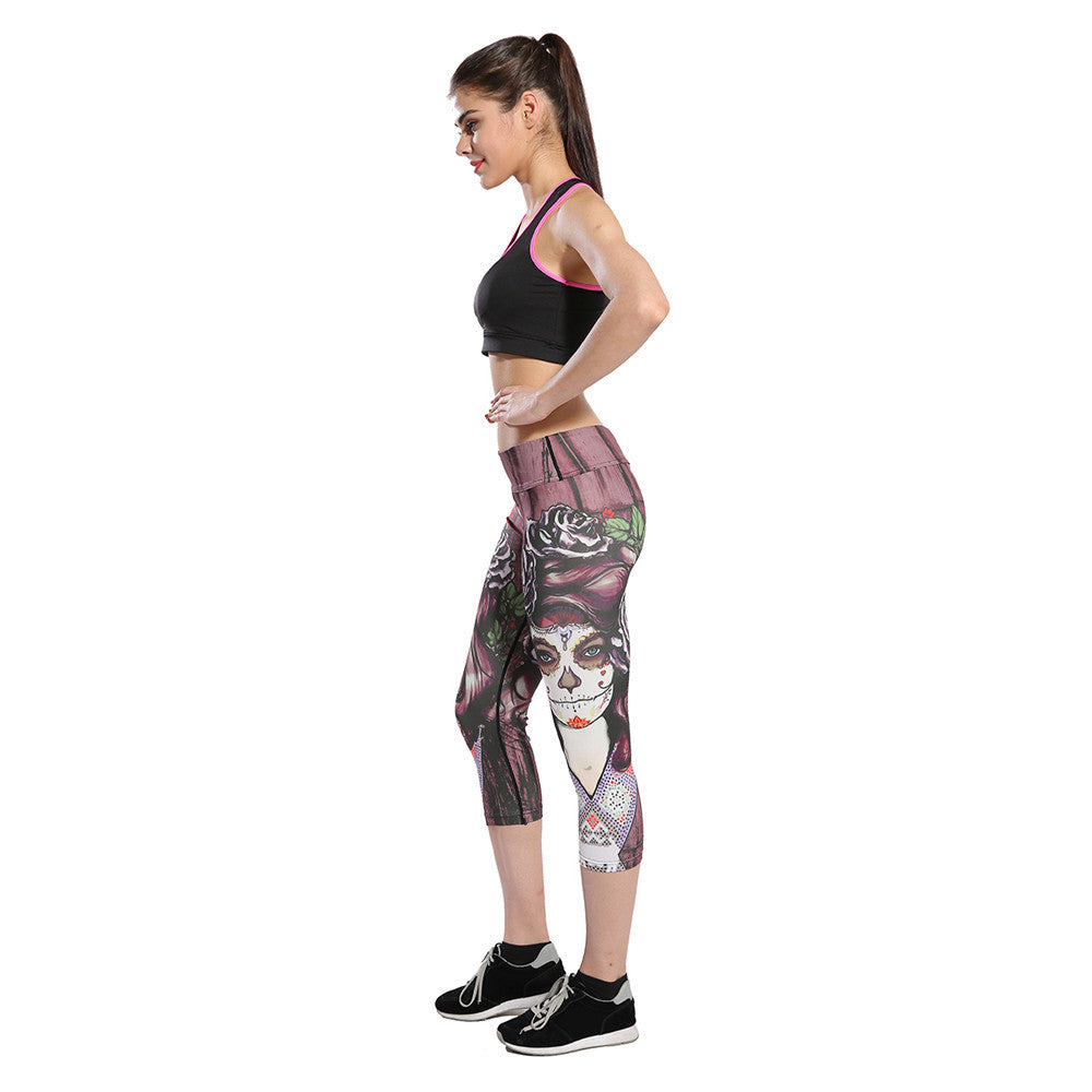 Yoga Pants Sports 2017 Sexy Cropped Leggings High waist Stretched Gym Clothes Running Tights Women Sports Leggings Fitness #E0