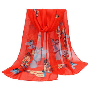 Summer Autumn Silk Scarf Fashion Women New New 2017 Chiffon Brand Butterfly Print Neck Shawl Scarve Warm Wrap Stole Scarves