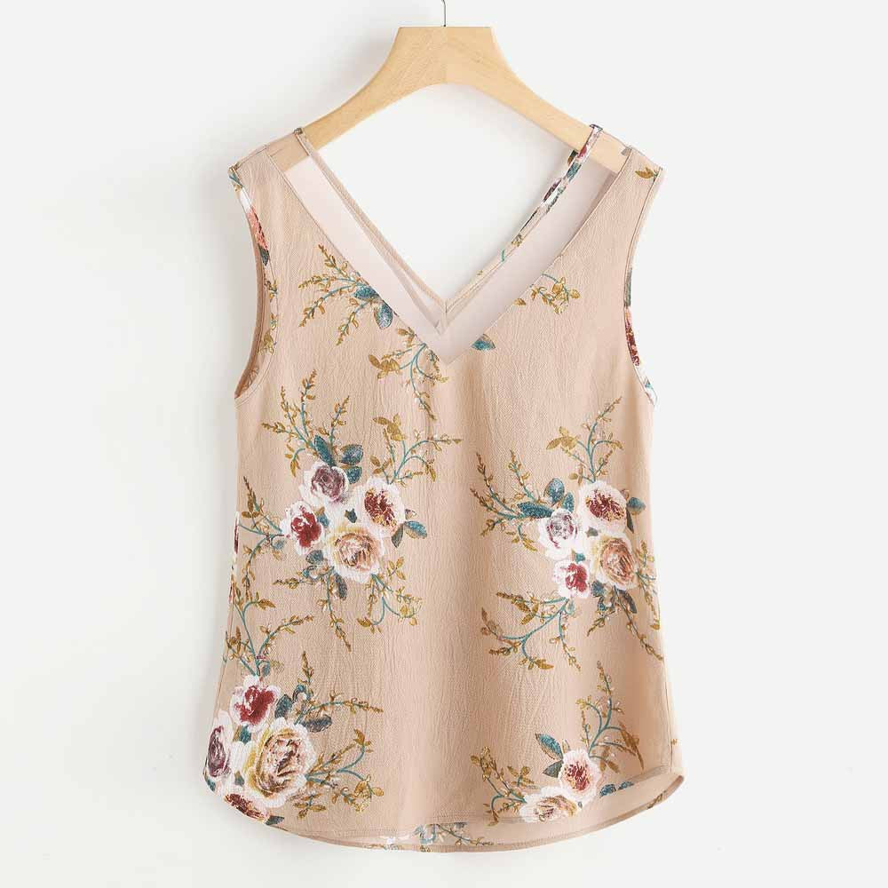 Blouse Women Floral Tank Tops Casual Flower Printing V Collar Sleeveless Vest Tank Shirt Top blusas feminina ver o