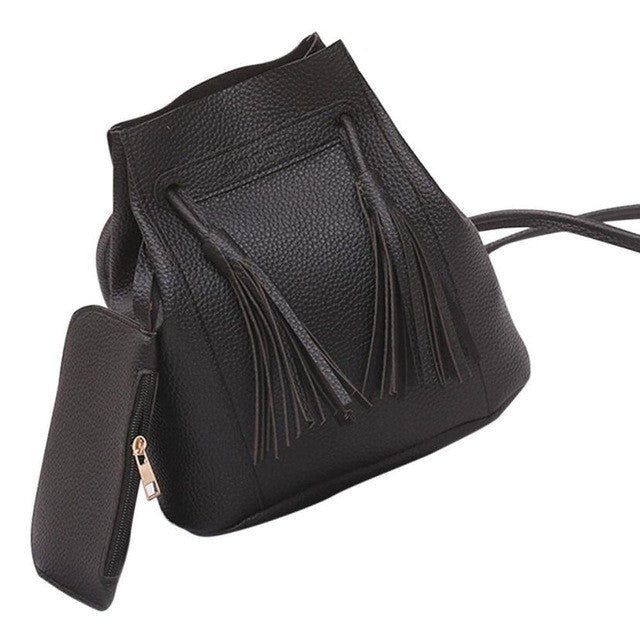 Xiniu women bags set 2 pcs Tassels Leather Shoulder Crossbody Bag Clutch bag bolsa feminina #6M