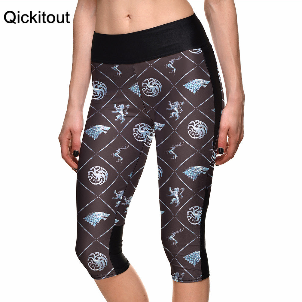 Fashion New Hot Sexy Women's 7 point pants women legging Box tiger totem digital print women high waist Side pocket phone pant