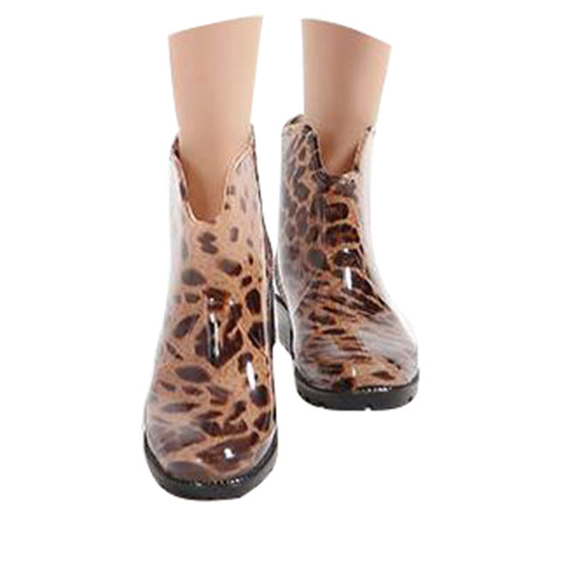 Europe Style Women's Leopard Rainboots All Match Ankle Rubber Boots Fashion Anti-slip Woman's Foot Wear Rainning Shoes XWX4271