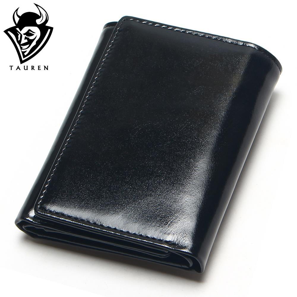 TAUREN Oil Wax Leather Wallet Female Wallets With Zipper Coin Bag Genuine Leather Women Wallets Small Short Purses For Female