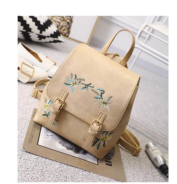 Fashion Floral Pu Leather Backpack Women Embroidery School Bag For Teenage Girls Brand Ladies Small Backpacks Gray Sac LB263