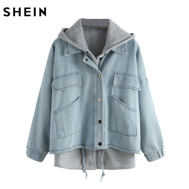 Denim Two Pieces Single Breasted Coat