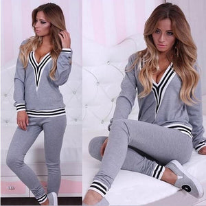 Women's Sexy V-neck Casual Long-sleeved Sweater Suit Sport Suit Straight Pants Track Suit 2Pcs