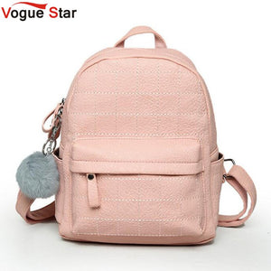 Pink Women Backpack Fur Ball Ornaments School Bag PU Leather Plaid Bag Casual Fresh Teenager Bag For Girls Mochila LB306