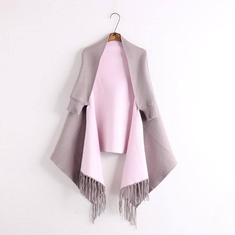 H.SA 2016 Autumn New Women's ElegantTassel Swing Cardigan Knitted Oversized Sweater Scarf Cape Poncho Long Cardigan Top Quality