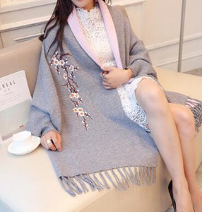 Luxurious Winter Elegant Cardigan Plum Floral Embroidery Women Long Poncho Tassel Shawl Cape Woolen Cashmere Lady Sweater female