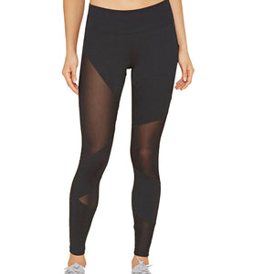 Women Fitness Leggings Ladies High Waist Pants Push Up Trouser Sexy Mesh Splice Legging