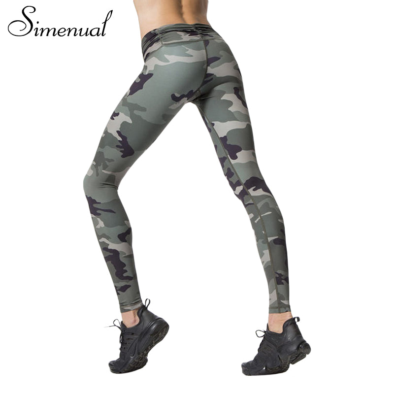 Simenual Harajuku camouflage print fitness legging female pants 2017 athleisure slim sexy bodybuilding leggings for women legins