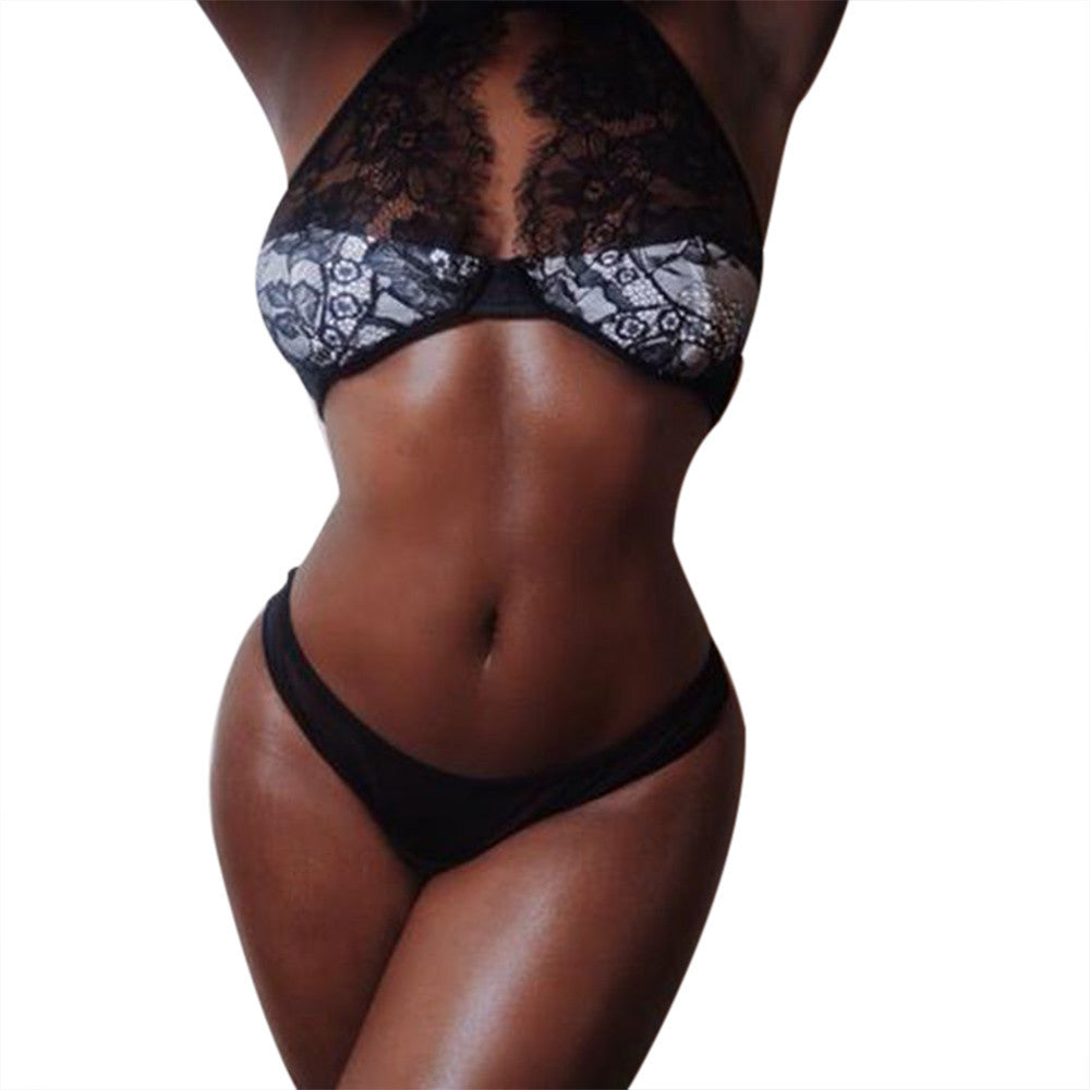 Women Lingerie Corset Lace Bandage Push Up Top Bra+Pants Underwear Set L