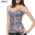 Deruilady Sexy Lingerie Floral Corset Strapless Overbust Slim Bustier Top Bandage Waist Trainer Corset and Bustier With G-string