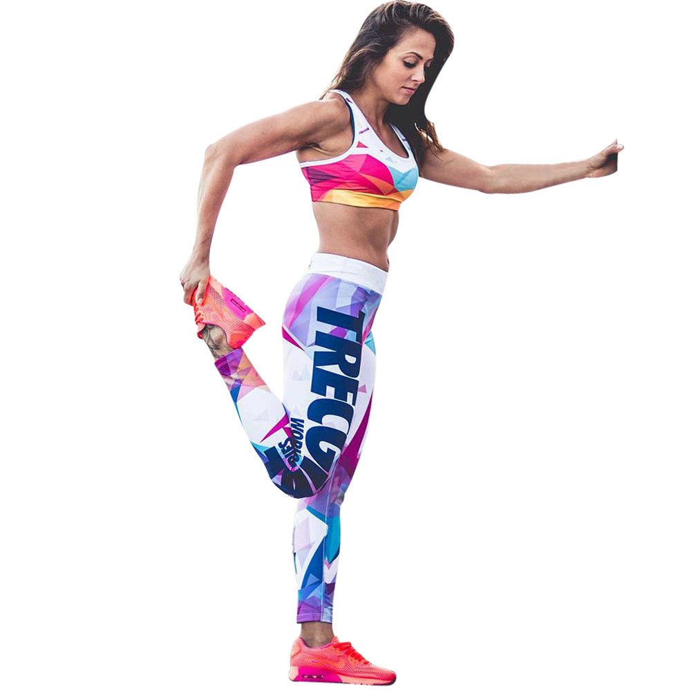Gym Suits Fitness Woman Sports Yoga Workout Mid Waist Running Pants Elastic Leggings Conjunto Academia Feminina #EW