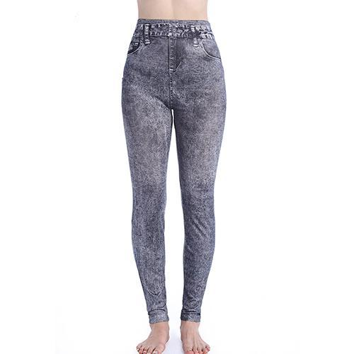 Lady Slim Casual Women Imitation Jeans Workout Trousers