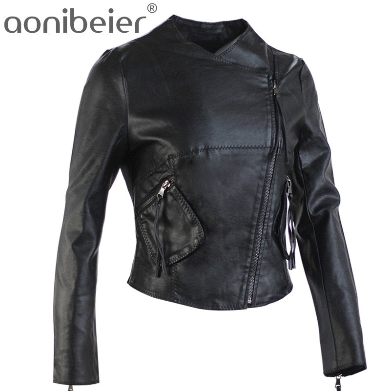 Cool Faux  Black Leather Motorcycle Jacket