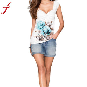 Women Tank Tops 2017 Summer Floral Print Sleeveless Sexy V-Neck T-shirt Vest Shirt Blusa White Woman Clothes