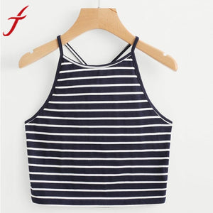 Fashion Striped Camis 2017 Summer Women Fashion Sexy Short Cropped Crop Top Sleeveless Navy T-Shirt Backless Tops