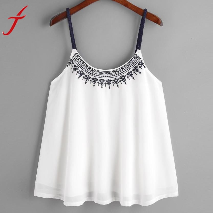 Summer girl  Women Tank Tops Flower Embroidered Chiffon blended t-shirts Strappy Cami Top Casual Sleeveless women crop tops