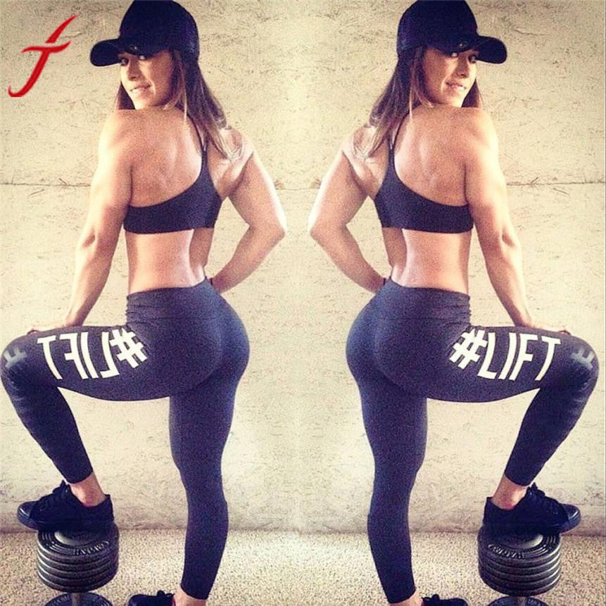Fashion Workout Leggings 2017 Sexy Women's Letter Printing Fitness Pants High Waist Stretchy Pencil Pants Dark Gray Black