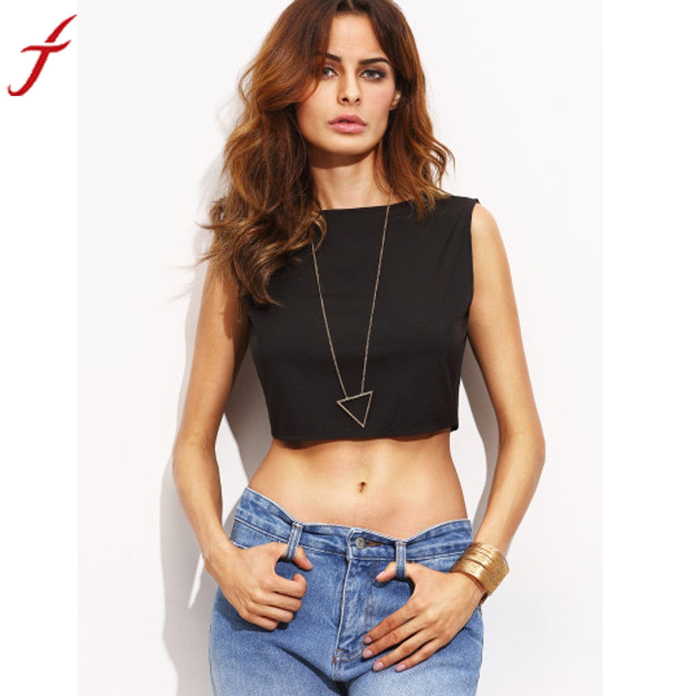 Short Tank Tops Women 2017 Sleveeless Tops Bandage cropped feminino Neck Navel Crop Tops Women Lady