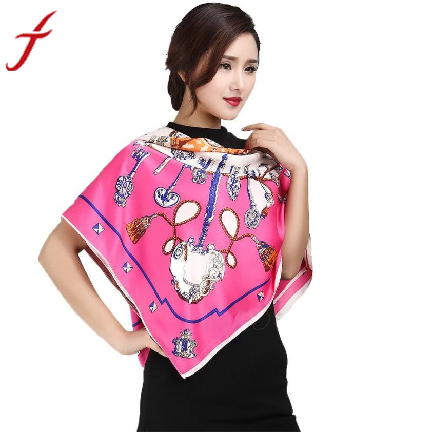 Women Geometric Pattern Printing Square Scarf Head Wrap Kerchief Neck Shawl Brand Wraps Hot-Sale Winter Ladies Scarves india