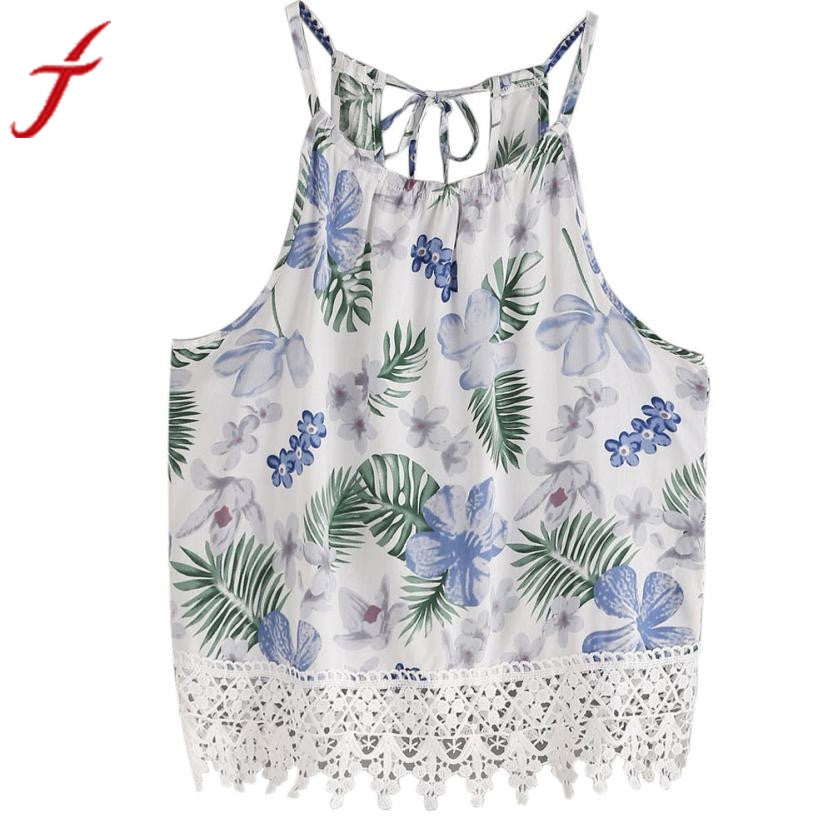 Flower Printed Crop Tops 2017 Summer Women Sexy Sleeveless Lace Tank Tops Casual Bandage White Tassel Fringe Blusa T-Shirt