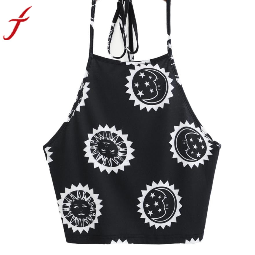 Womens  T-Shirt 2017 Summer New Sun Moon Printing Sexy Sleeveless Halter neck Tank Tops Crop Backless Vest cropped feminino