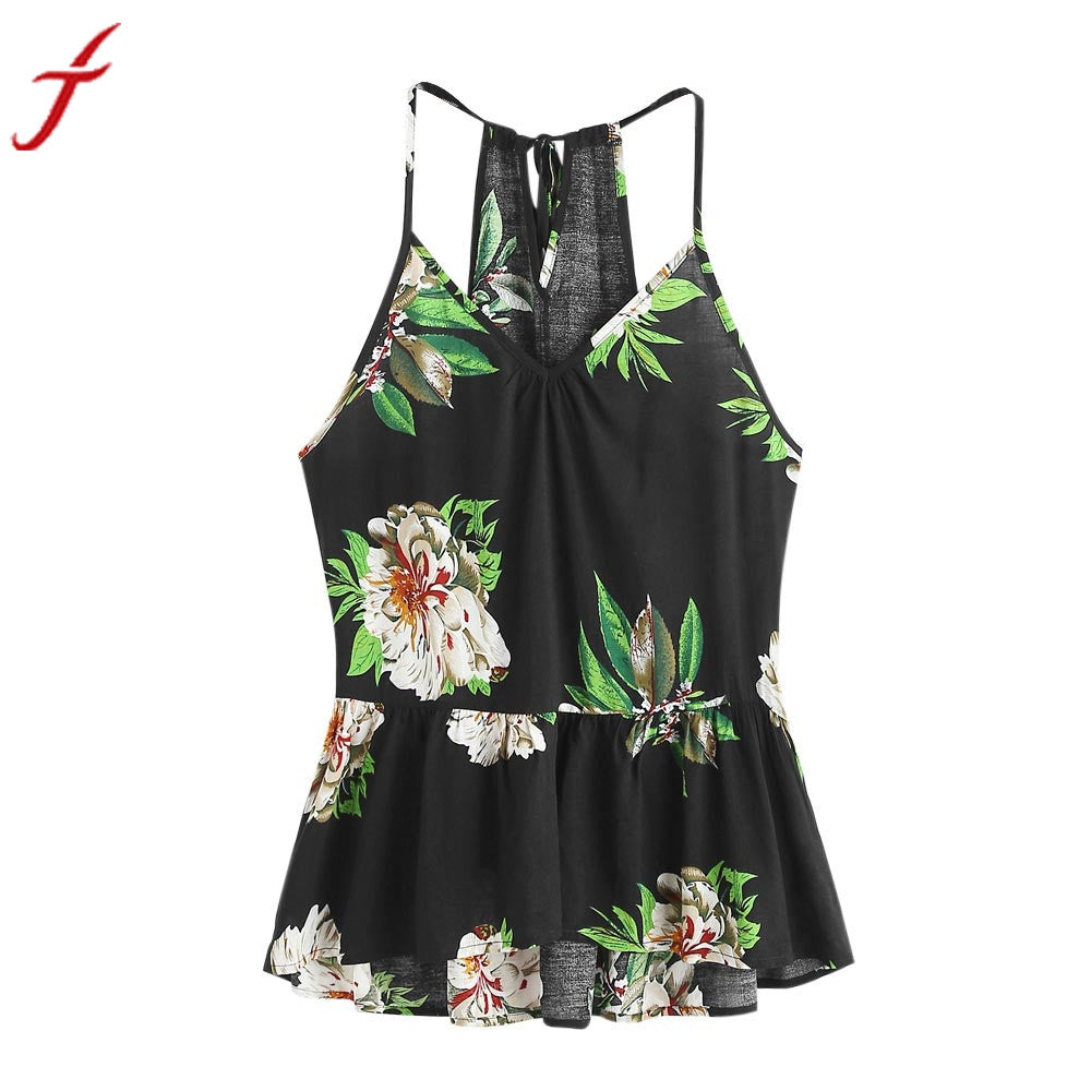 Smmer Beach Wear Camis Women Floral Printed Casual Sleeveless Crop Top Vest Tank Shirt Blouse Cami Top Cropped Feminino